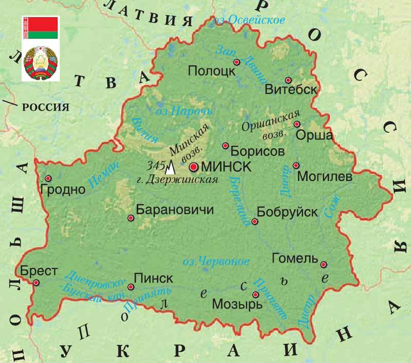 карта Белоруссия