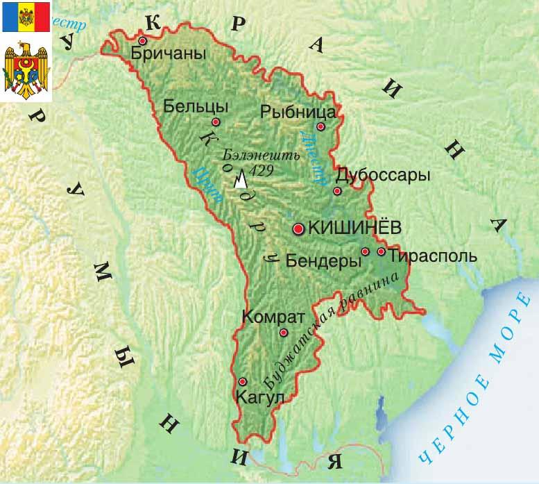 карта Молдавия