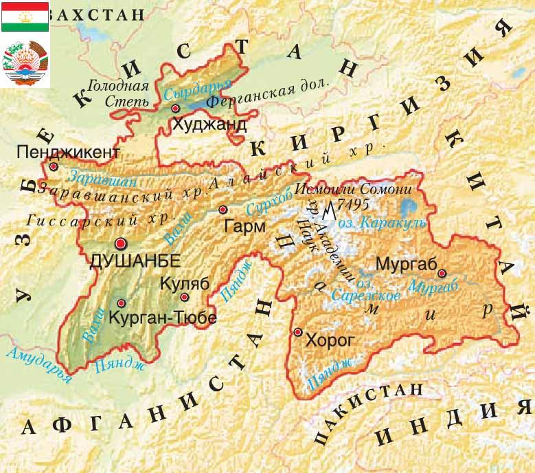 карта Таджикистан